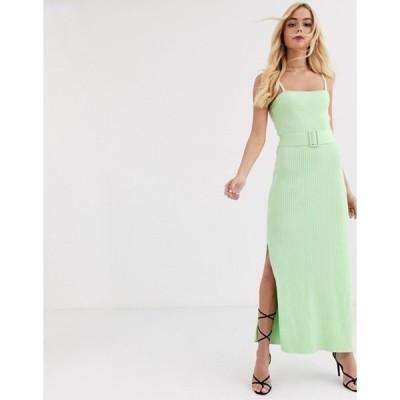 ファインダーズ キーパーズ レディース ワンピース トップス Finders Keepers ribbed knit dress with belt in lime green