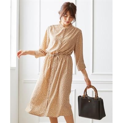 羽織としても使える。幾何学柄2WAYバンドカラー7分袖シャツワンピース (ワンピース)Dress