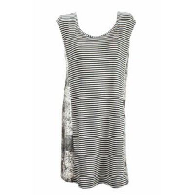 Alfani  ファッション ドレス Alfani Beige Black Sleeveless Striped Sequin Panel Shift Dress L