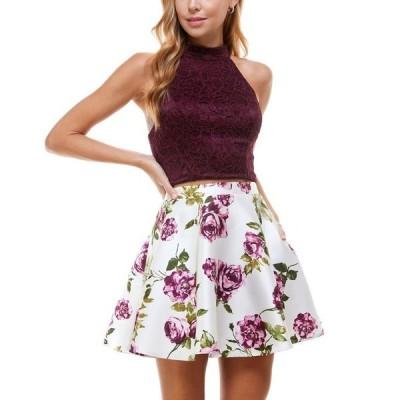 シティー スタジオ レディース ワンピース トップス Juniors' Two-Piece Halter Dress