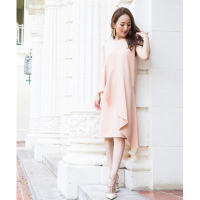 ドレス \土岐田麗子さん・星玲奈さん着用/アシメドレープノースリーブワンピース