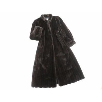 美品▼BLACKGLAMA MINK ブラックグラマ ミンク 本毛皮ロングコート 毛質艶やか・柔らか◎ ダークブラウン