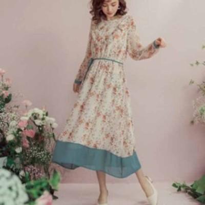 レディース ミモレ丈 花柄シフォンワンピース ドレス お出かけ フェミニン かわいい ナチュラル デート カジュアル 旅行 お呼ばれ