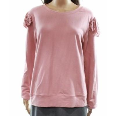 Bobeau ボビュ ファッション トップス Bobeau NEW Pink Womens Size PXS Petite Ruffle Eyelet Pullover Sweater