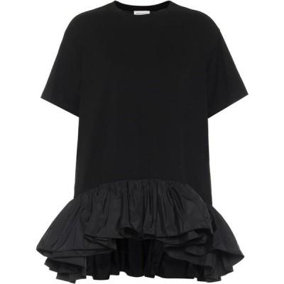 アレキサンダー マックイーン Alexander McQueen レディース Tシャツ トップス Ruffle-Trimmed Cotton Jersey T-Shirt Black