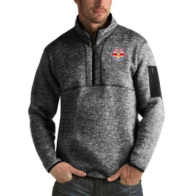 """メンズ ジャケット """"New York Red Bulls"""" Antigua Fortune Quarter-Zip Pullover Jacket - Black"""