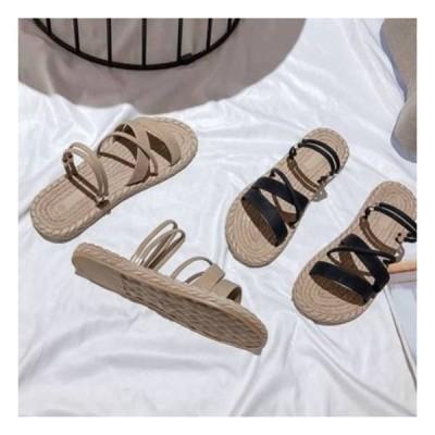 サンダル 夏サンダル レディース ぺたんこ 夏 歩きやすい 履きやすい 新品 黒 フラット シューズ 疲れにくい カジュアル 可愛い 楽ちん クロスベルト スウェード