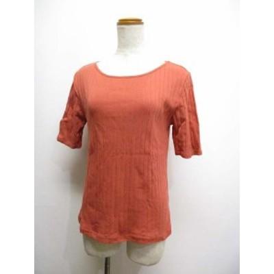 【中古】エニィファム anyFam 五分袖 ワイドリブ カットソー 2 ピンク系 Tシャツ 綿100% レディース