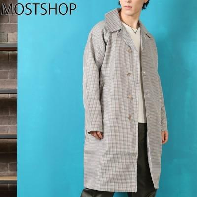 ステンカラーコート メンズ スプリングコート ロングコート ショップコート オーバーサイズ ビッグシルエット ワイドシルエット ドロップショルダー 春新作 春服