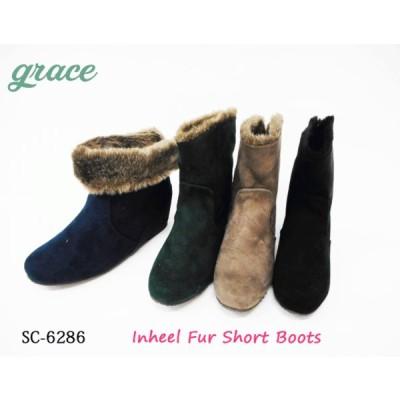 【SALE】GRACE インヒール ショートブーツ ファー 暖かい シルエットがきれい 脚長効果 OL 楽ちん スエード 2WAY SC6286