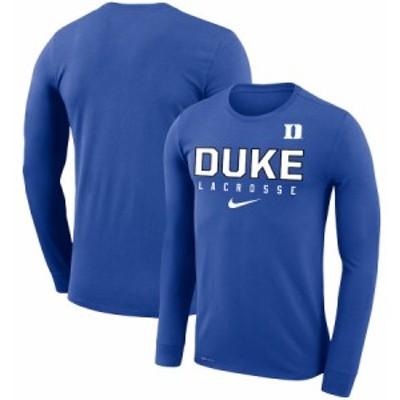 """ナイキ メンズ """"Duke Blue Devils"""" Nike Lacrosse Legend Performance Long Sleeve T-Shirt ロンT 長袖 Royal"""