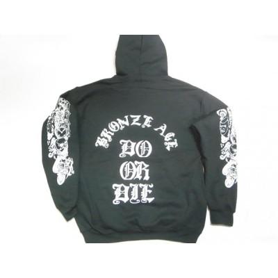 BRONZE AGE ブロンズエイジ DO OR DIE オールドイングリッシュ プルオーバーフードスウェット パーカー 黒 ブラック