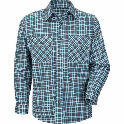 ブラウァーク シャツ トップス メンズ Bulwark Men's EXCEL FR ComforTouch Plaid Uniform Shirt Teal/Brown Plaid