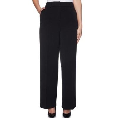 ルビーロード レディース カジュアルパンツ ボトムス Petite Size Pleat Front Gabardine Wide Leg Trouser Pants Black