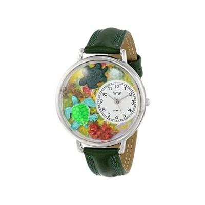 【新品・送料無料】カメ 緑レザー シルバーフレーム時計#U0140003