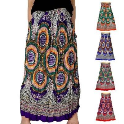 エスニック スカート ギャザー ロングスカート フレアスカート ウエストゴム ネックストラップでワンピースにも 総柄プリント  ギャザードレス シャーリングで動