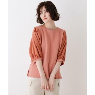 SHOO・LA・RUE/シューラルー 異素材使いボリューム袖Tシャツ ダークオレンジ(068) 04(LL)