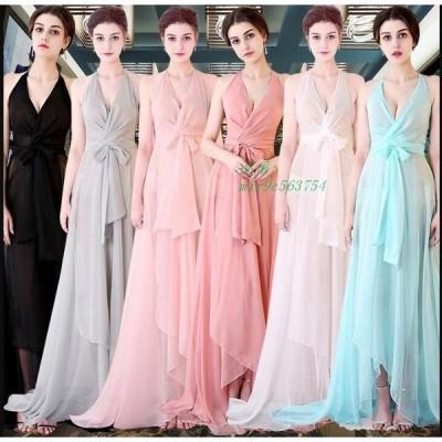 6色 発表会 ファッション パーティー 大きいサイズ ウエディングドレス 新作 ノースリーブワンピース ブライダル 大人 キレイめ 結婚式 Vネック