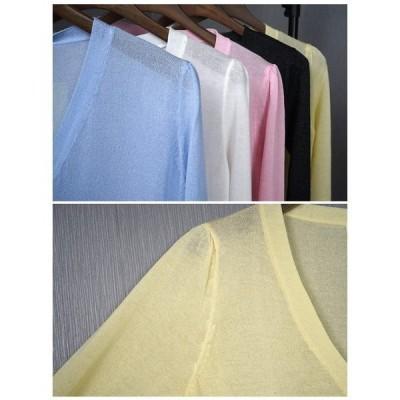 カーディガンレディースショート丈薄てボレロニットトップスアウター羽織る夏リネン素材七分丈薄てニット2018春夏新作