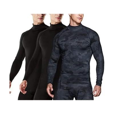 TSLA Mens UPF 50+ Quick Dry Mock Long Sleeve Compression Shirts, Athletic W
