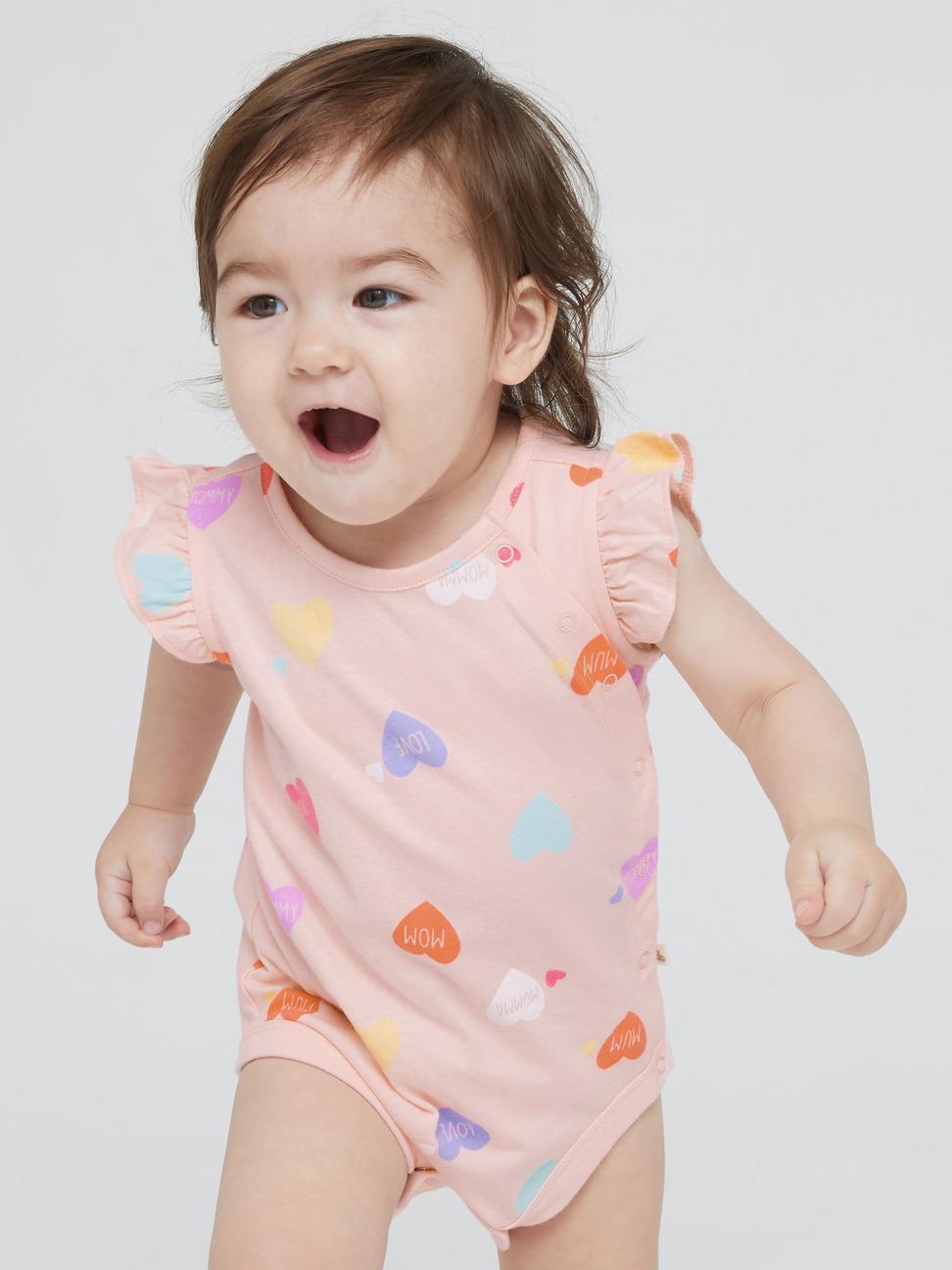 嬰兒 純棉愛心荷葉邊包屁衣