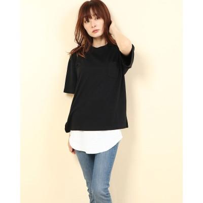 ジーラ GeeRA Tシャツ&ワッフル素材タンクトップセット (ブラック)