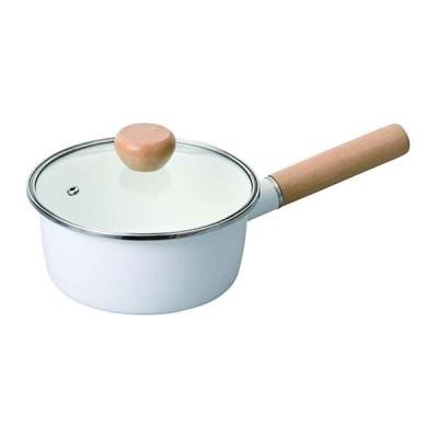 パール金属 HB-5300 クレヴィア ホーローガラス蓋片手鍋16cm(ホワイト)