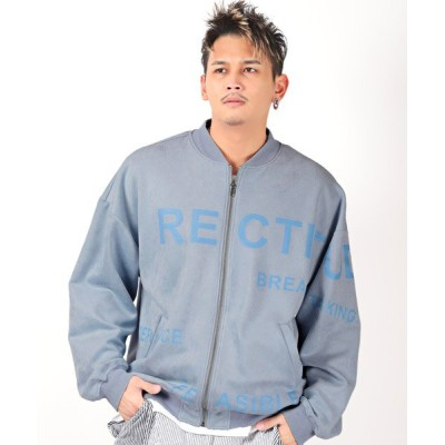 【ラグスタイル】 ロゴスウェードMA-1ジャケット/MA-1 MA MA1 メンズ ジャケット スウェード ロゴ メンズ ブルー 44 LUXSTYLE