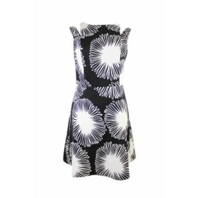 kensie ケンジー ファッション ドレス Kensie Black White Sleeveless Printed Fit & Flared Dress XS
