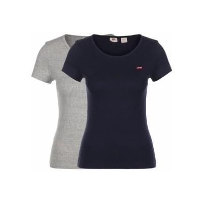リーバイス Tシャツ レディース トップス 2 PACK - Basic T-shirt - smokestack & sea capitan blu