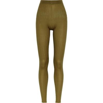 ペーター ペトロフ Petar Petrov レディース スパッツ・レギンス インナー・下着 Erin army green ribbed-knit leggings Green