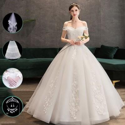 花嫁 ウェディングドレス プリンセスドレス ウエディングドレス 花嫁の結婚式 結婚式 二次会 3タイプ 8点セット