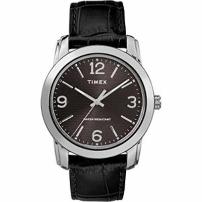 腕時計 タイメックス メンズ Timex Men's TW2R86600 Classic 39mm Black/Silver-Tone Croco Pattern Leat