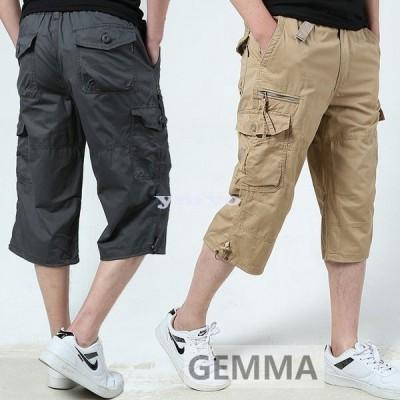 カーゴパンツ メンズ ハーフパンツ ショートパンツ ワイドパンツ 7分丈 ワークパンツ 大きいサイズ 綿 コットン 作業着 太め 夏