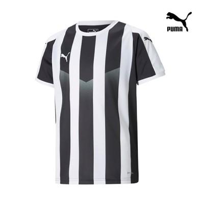 PUMA プーマ キッズ・ジュニア  LIGA ストライプ ゲームシャツ ブラック サッカーシャツ 703633-03(120-160cm)