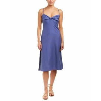 Shift  ファッション ドレス Adeline Tie-Front Linen-Blend Shift Dress