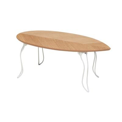 リーフ型天板の折りたたみ式リビングテーブル