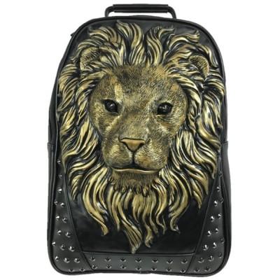 ライオン 立体 顔 フェイス 3D リュック バックパック スタッズ 鋲 黒 ブラック 金色 ゴールド●bp136