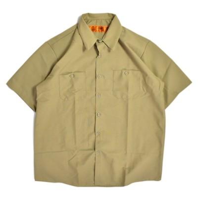 RED KAP ショートスリーブ インダストリアル ワークシャツ カーキ #SP24 メンズ/レッドキャップ/USAモデル/半袖シャツ