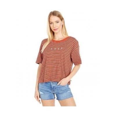 Roxy ロキシー レディース 女性用 ファッション Tシャツ Infinity Is Beautiful Short Sleeve Tee - Auburn Indie Stripes