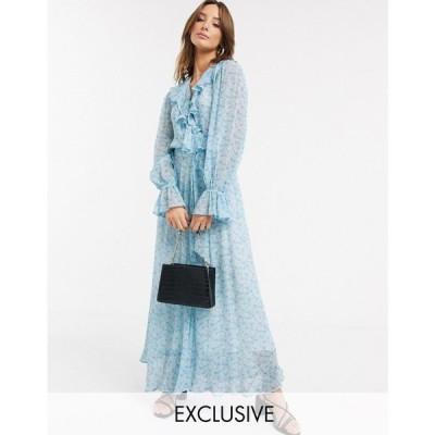 ゴースト Ghost レディース ワンピース ラップドレス Exclusive su floral print georgette wrap maxi dress with ruffle in charity flower
