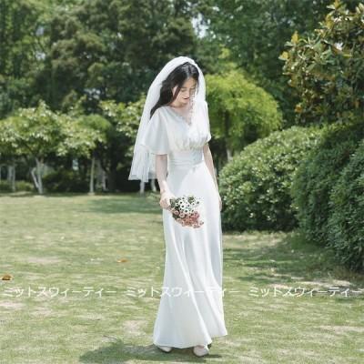 ウェディングドレス 二次会 リゾートドレス 結婚式 袖あり ブライダル 前撮り 挙式 花嫁 旅行 フォト パーティードレス ワンピース ガーデンウェディング 後撮り