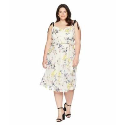 Donna Morgan ドナモーガン ドレス 一般 Plus Size Embroidered Mesh Blouson Midi