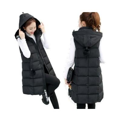 レディース ダウンベスト ロング丈 厚手 暖かい ダウンジャケット 女性用 秋冬 取り外しフード付  送料無料