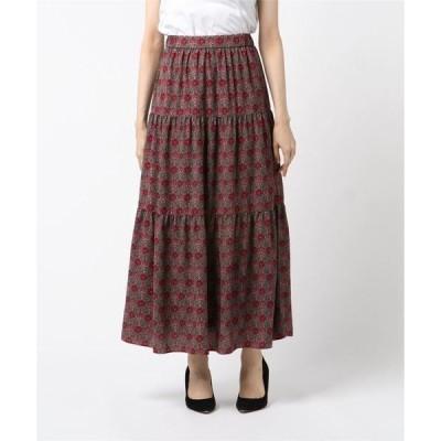 スカート ウォールペーパープリントティアードスカート