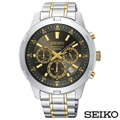 SEIKO精工  霸氣強悍三眼計時石英腕錶 SKS609P1