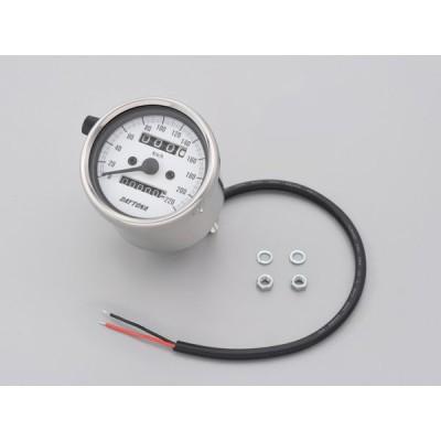デイトナ D15636 機械式スピードメーター φ60 ホワイトLED照明 ステンレスボディ/ホワイトパネル 220km/h