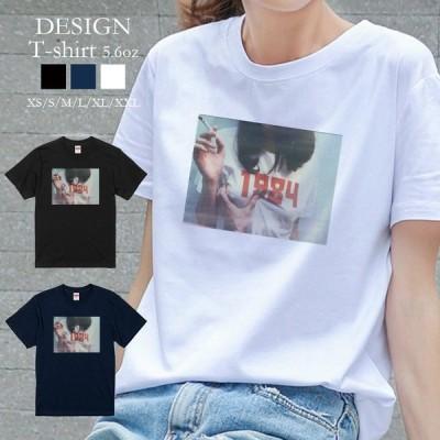 Tシャツ レディース 半袖 トップス 男女兼用 セクシー ガール タバコ smoking ビンテージ クルーネック プリントTシャツ