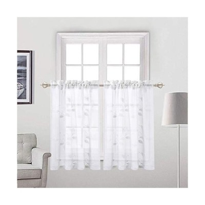 Haperlare Embroidered Sheer Tier Curtains, Leaves Pattern Matched Ribbon Embroidery Short Window Curtain, Rod Pockrt Floral Half Window Voil