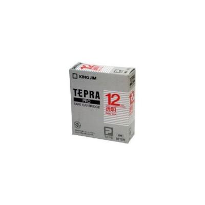 (まとめ) 「テプラ」PROシリーズテープ スタンダード 透明に赤文字 12mm 〔×5セット〕